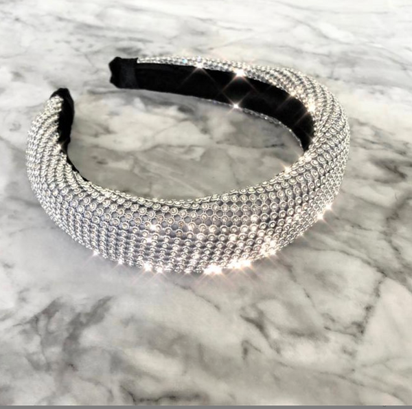 Luxury Diamante Mesh Padded Headband Alice Styled Diamante