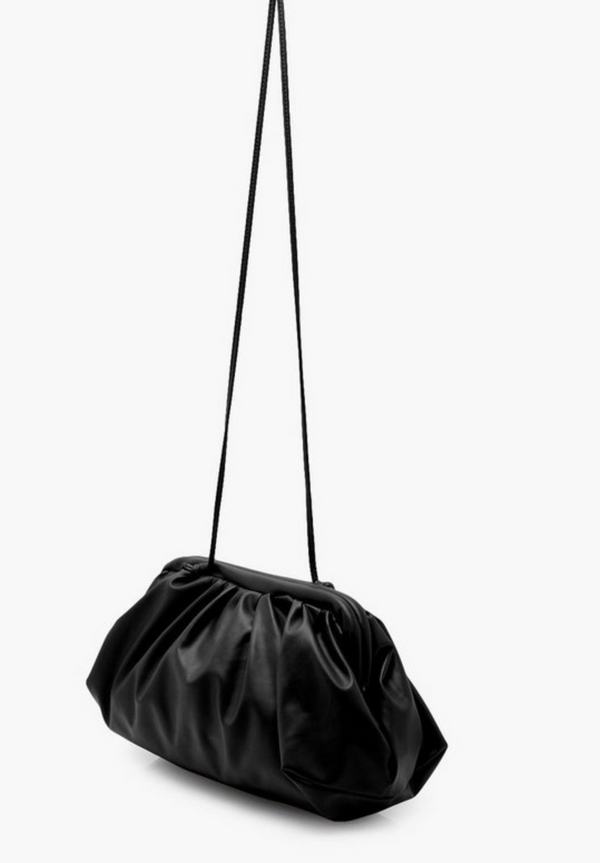 Small Gathered PU clutch and strap bag in black