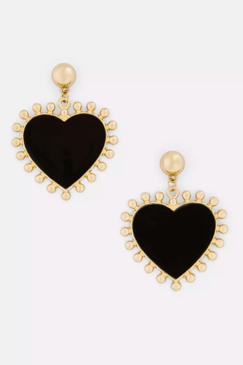 Gold look heart shaped earrings with black centre