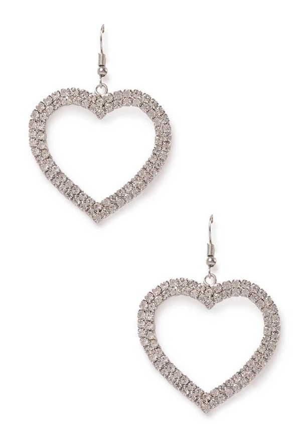 Silver Diamante Heart Earrings