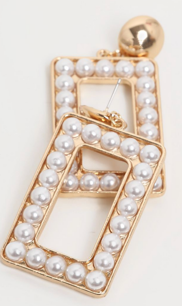 Gold Pearl Large Rectangle Door Knocker Earring