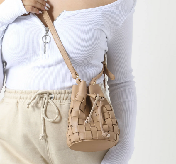 Woven Cross Body Bucket Bag In Nude Faux Leather