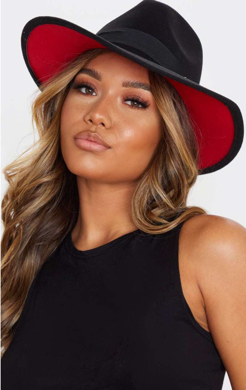 Black Fedora With Red Ribbon