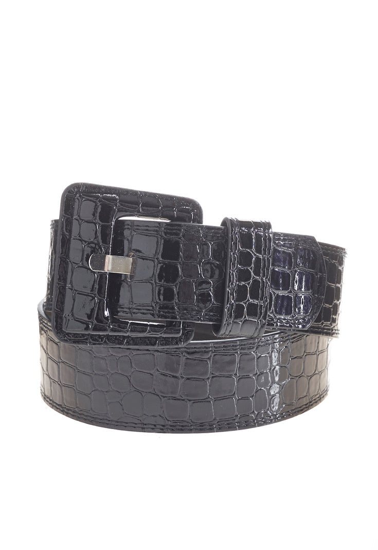 Black Covered Buckle Wide Belt