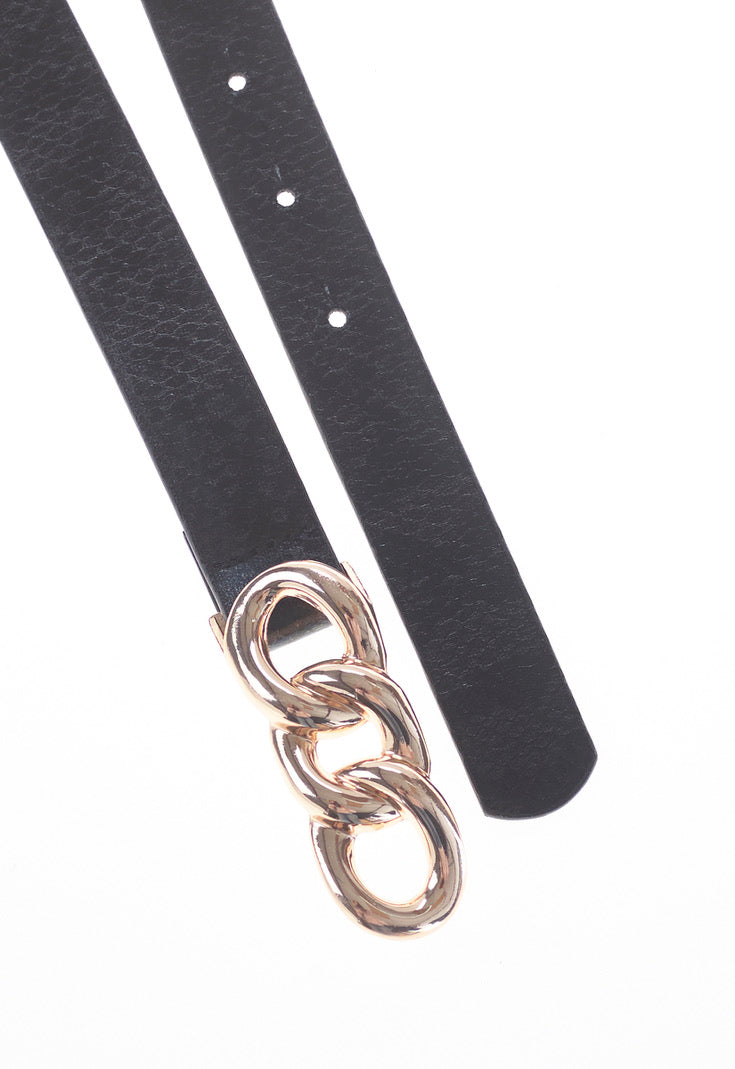 Black Triple Ring Detail Waist Belt