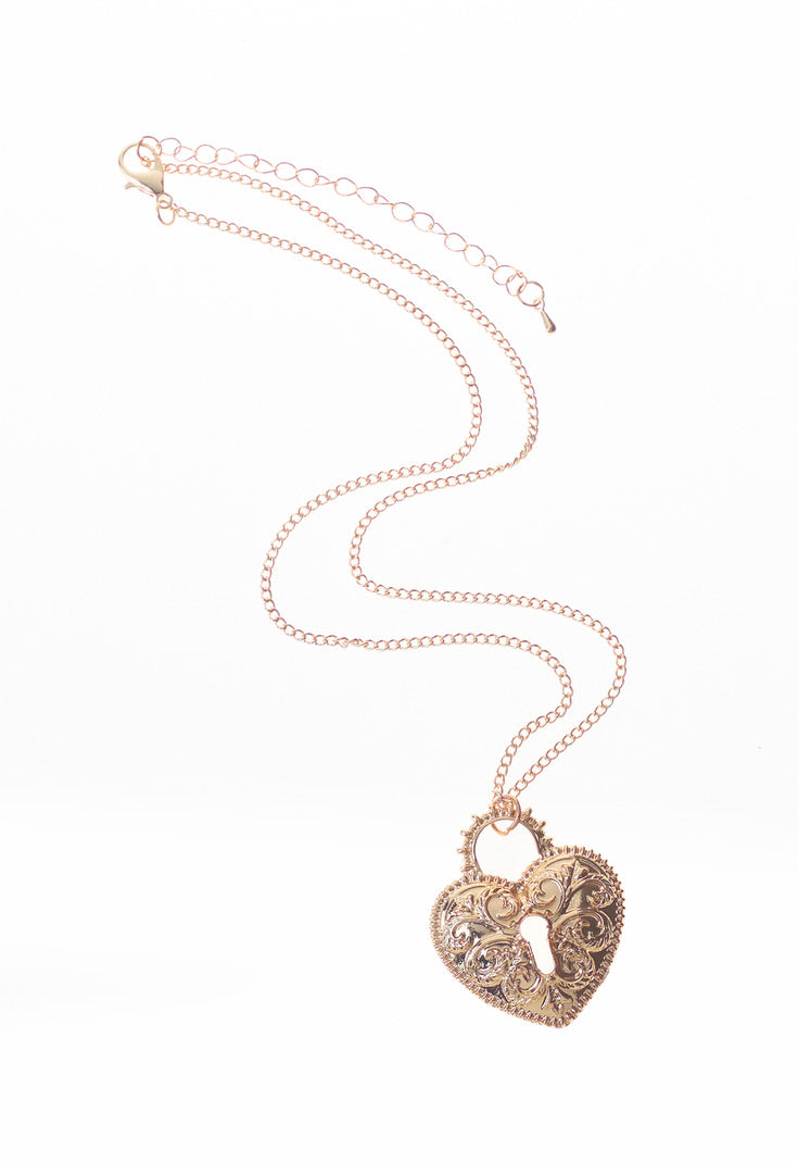 Gold Heart Lock Chain Necklace