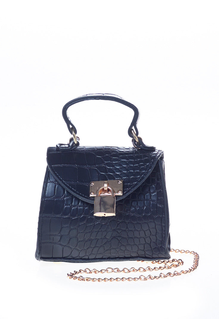 Black Padlock Chain Detail Bag