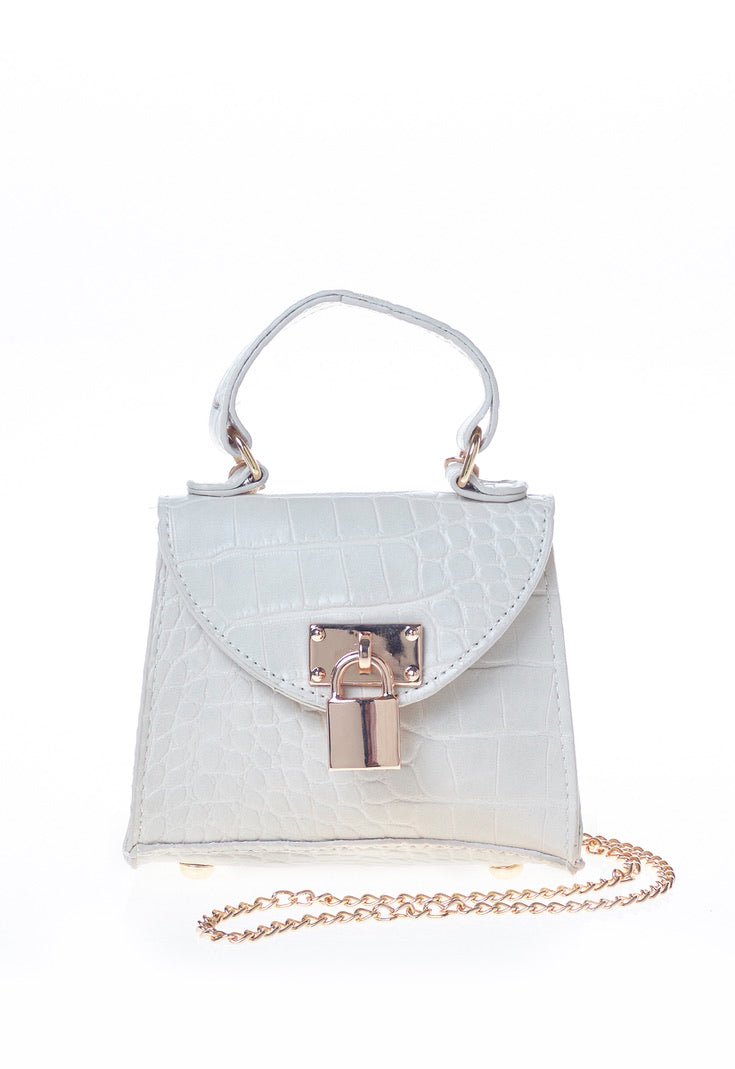 Nude Padlock Chain Detail Bag