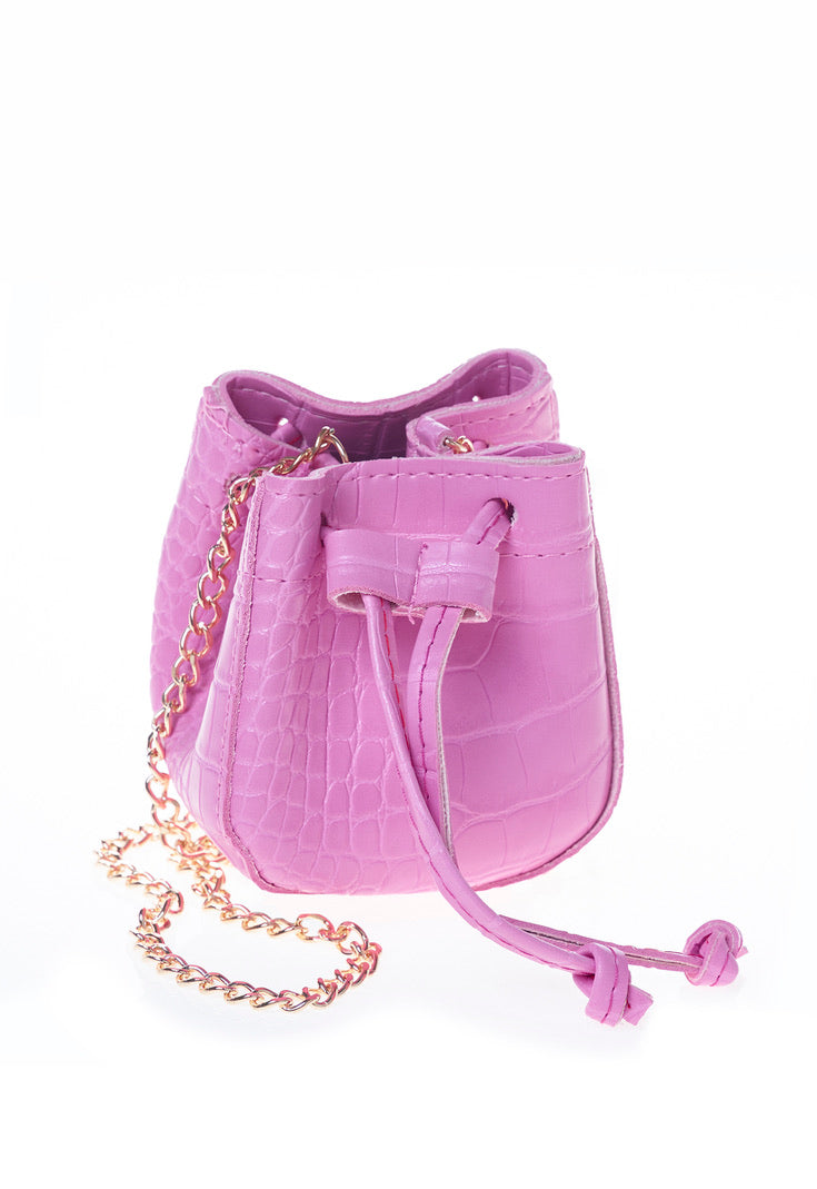 Pink Faux Leather Mini Drawstring Bag