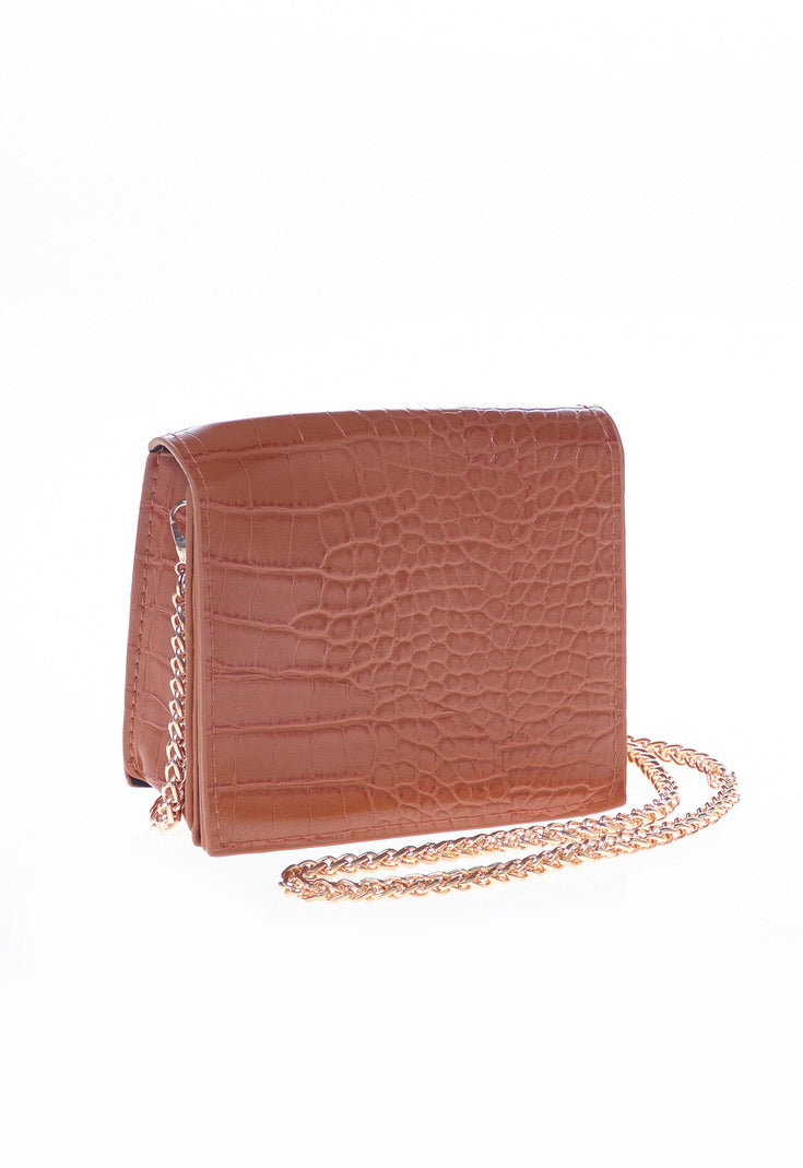 Tan Faux Leather Mini  Bag,