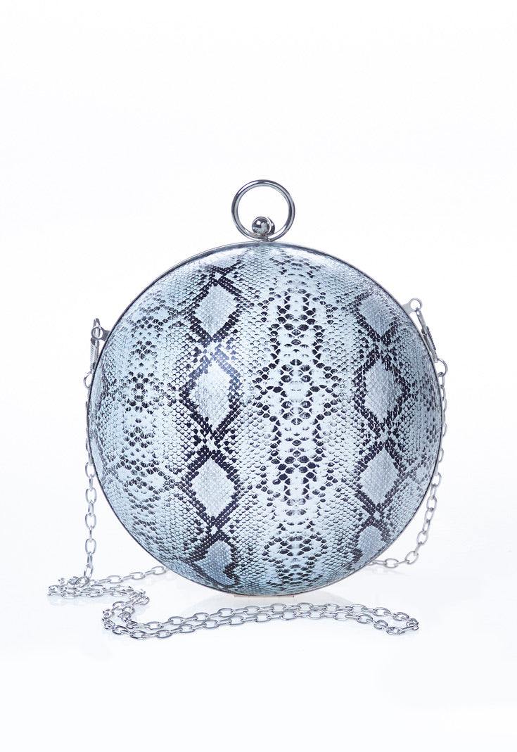 Snake Print Woven Sphere Chain Detail Bag