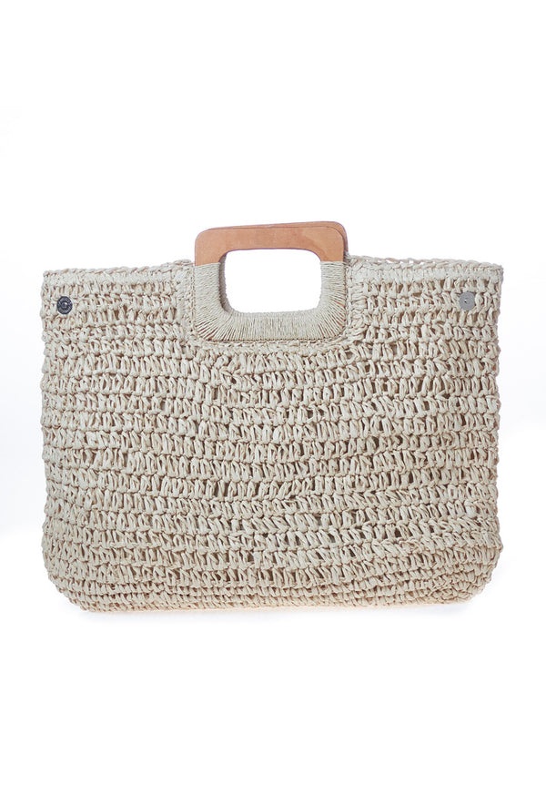 Large Straw Woven , Wooden Handle Beach Bag Premium