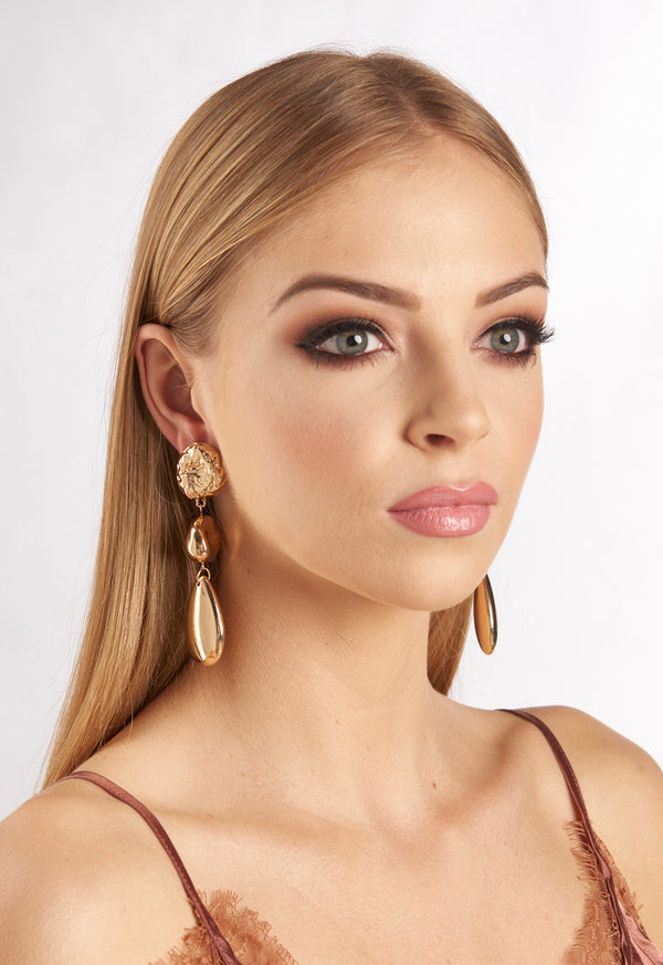 Gold Chunky 3 Drop Stone Earrings
