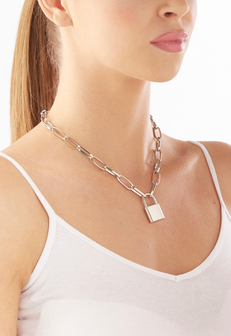 Silver Look Chain Lock Necklace