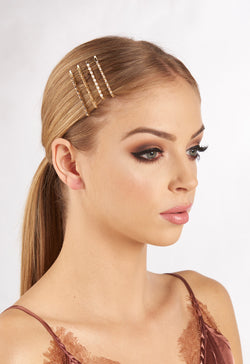 Gold Embellished Pack of 4 Hair Clips