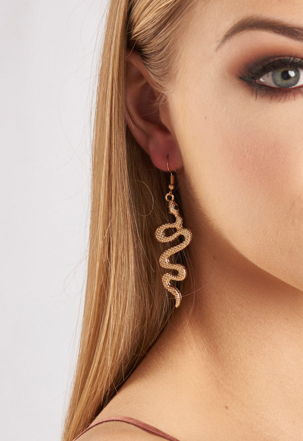 Snake Gold Metal Earrings