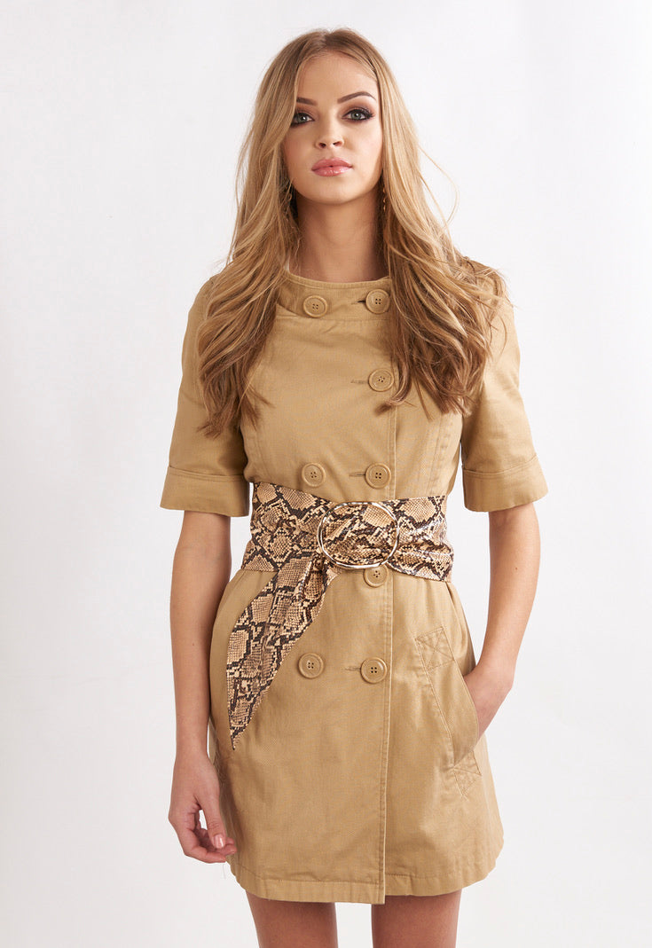 Nude Snake Oversized Gold Belt