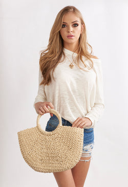 Straw Woven , Woven Handle Beach Bag