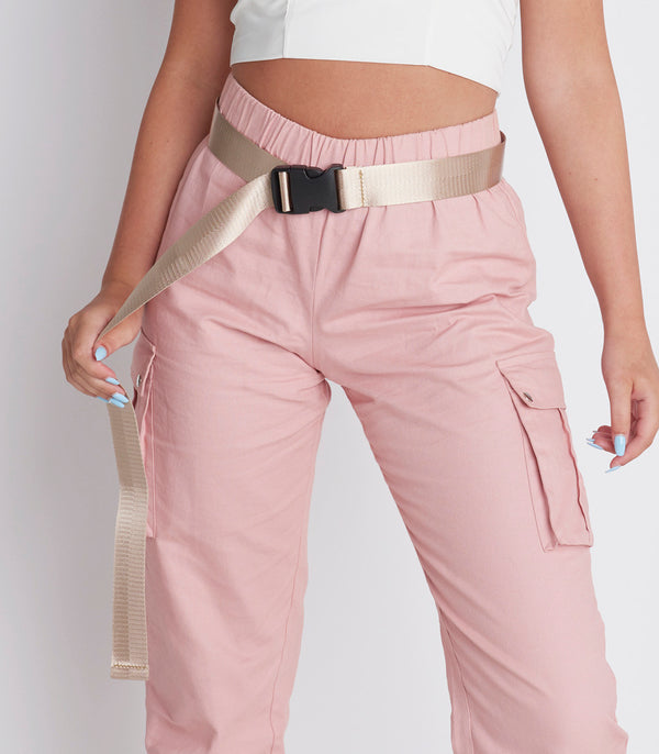 Champagne Woven Buckle Detail Utility Belt
