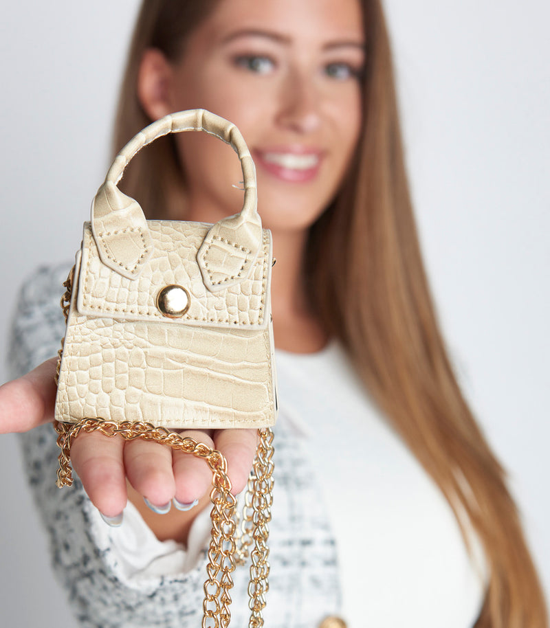 Nude Snake Faux Leather Micro Mini Bag