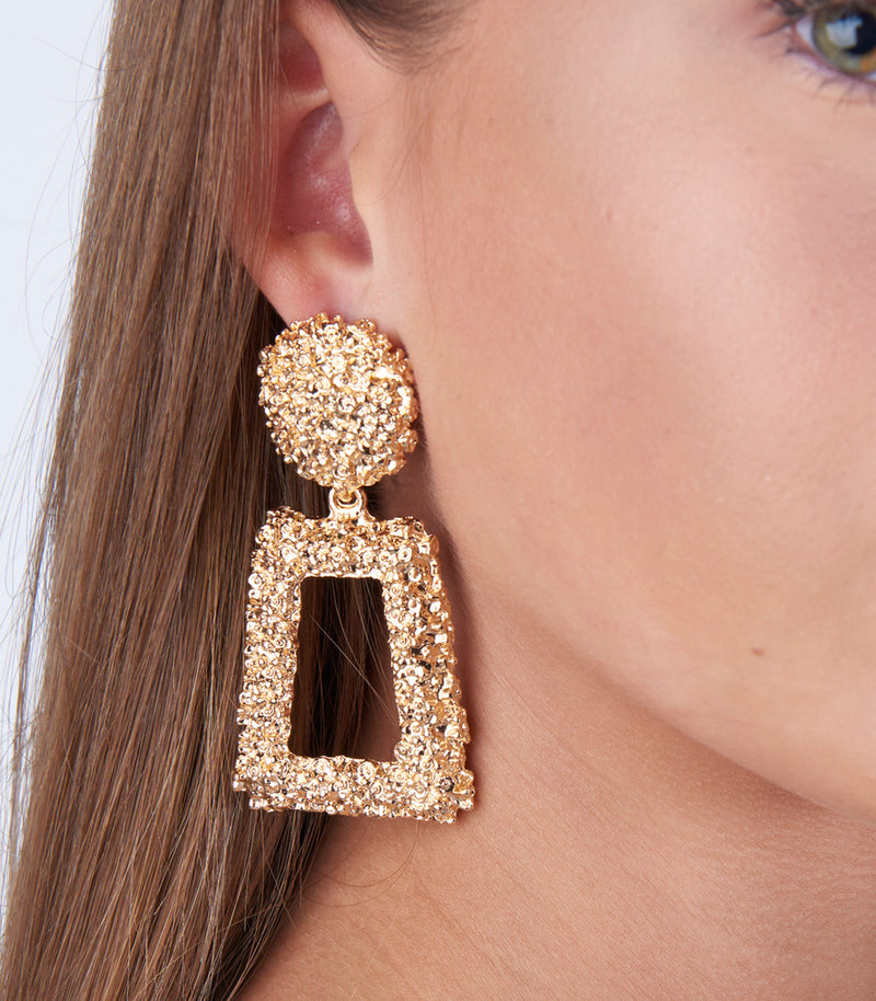 Gold Textured Rectangle Drop Earrings