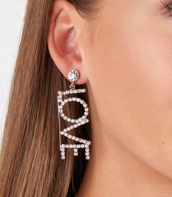 Love slogan Earring with silver and diamond detail.
