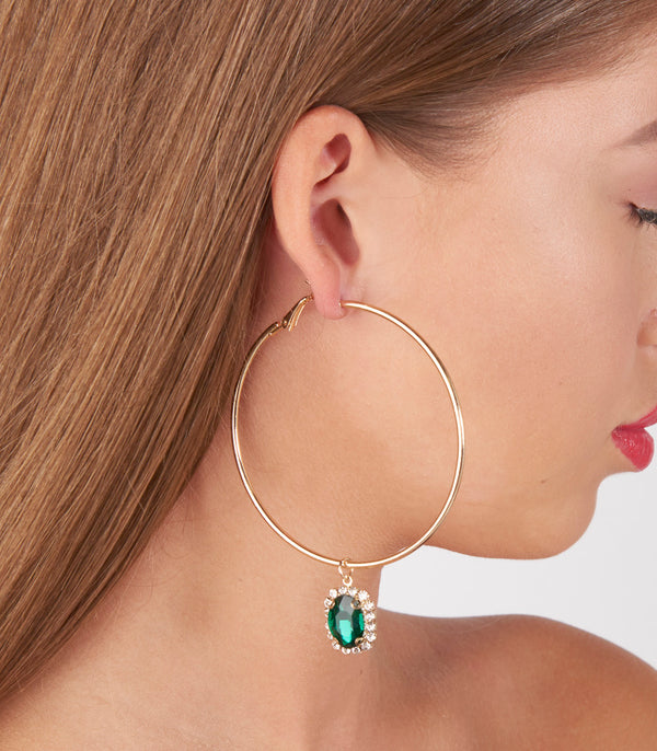 Gold Hoop And Green Diamante Charm Earrings