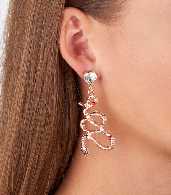 Rose Gold Snake Style Earrings
