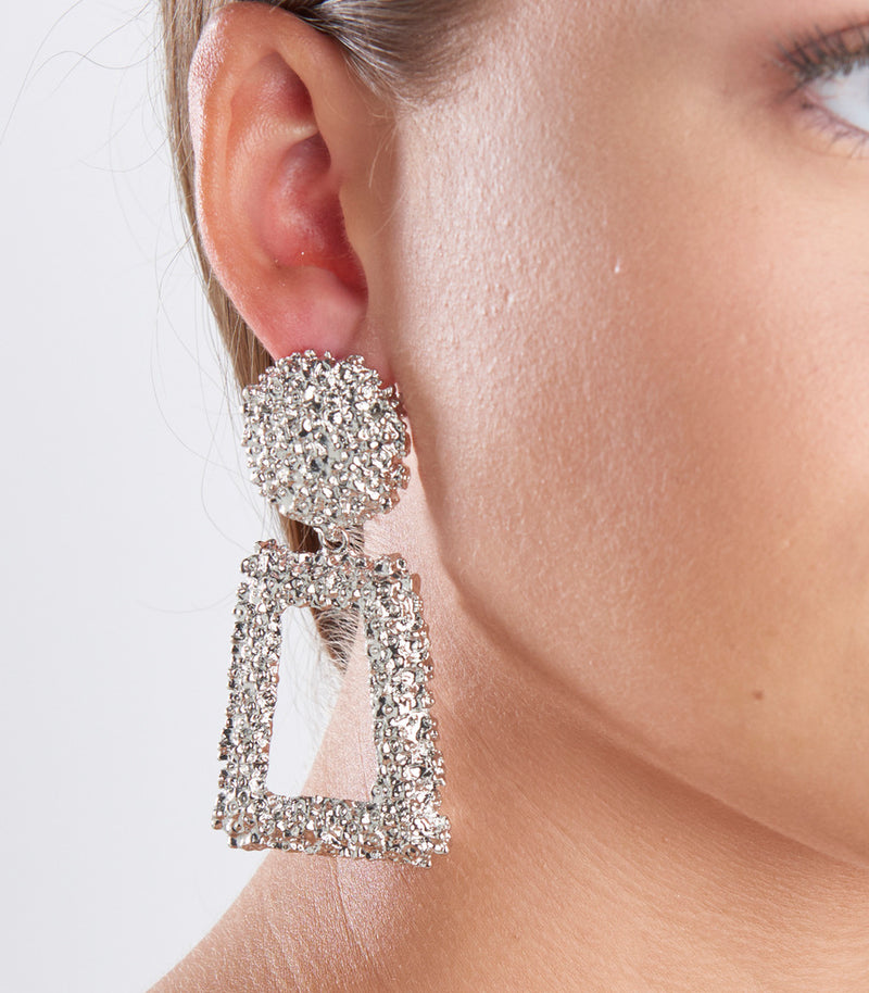 Silver Textured Rectangle Drop Earrings