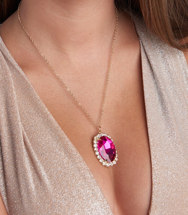 Pink Ruby Gem Pendant Necklace