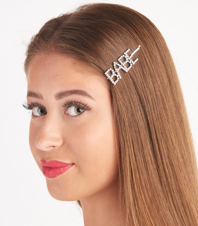 Babe Slogan Diamante Embellished Hair Slides