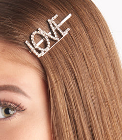 Love Diamante Embellished Hair Slides