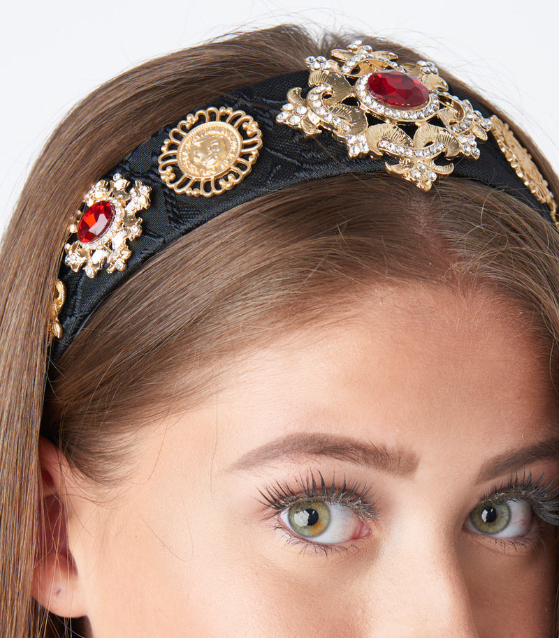 Black and Gold Oriental Print Large Diamante Embellished Alice Headband