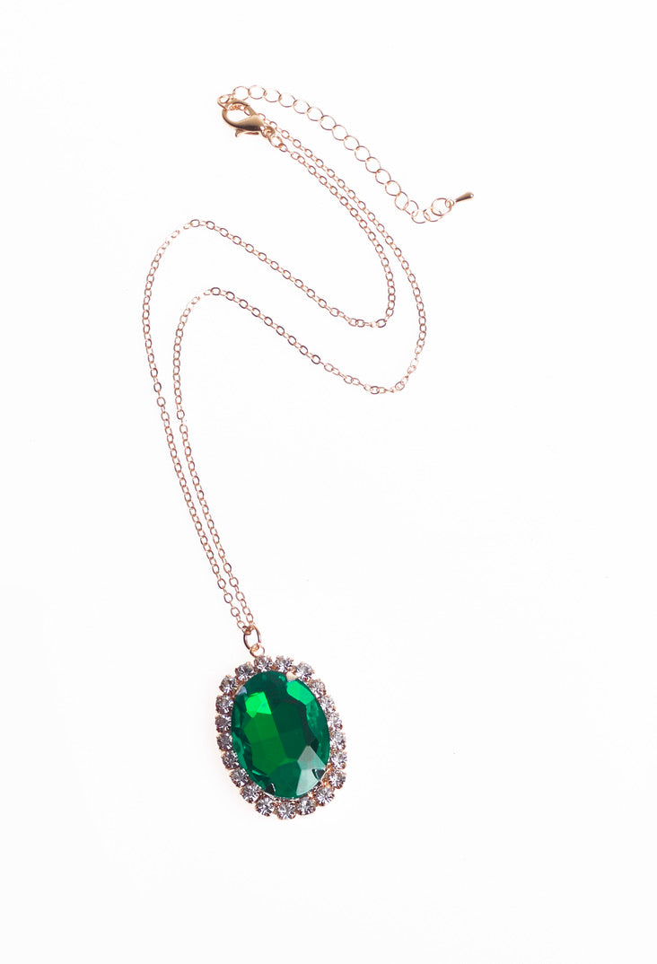 Green Ruby Gem Necklace