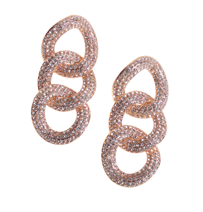 Gold Diamante 3 Loop Earrings