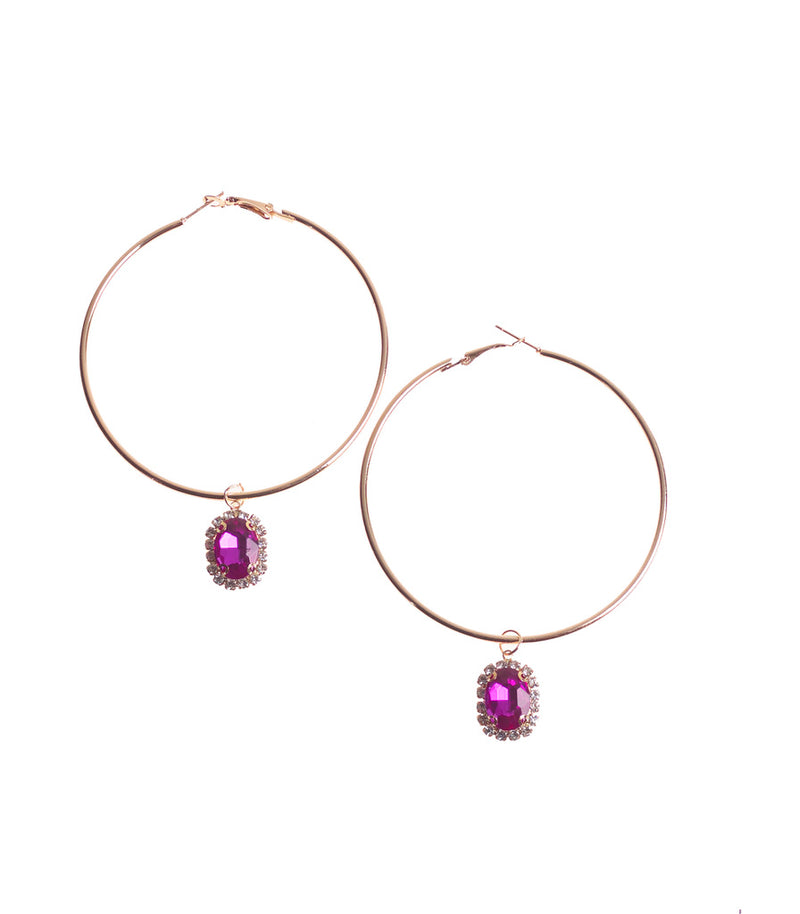 Gold Hoop and Pink Diamante Charm Style Earrings