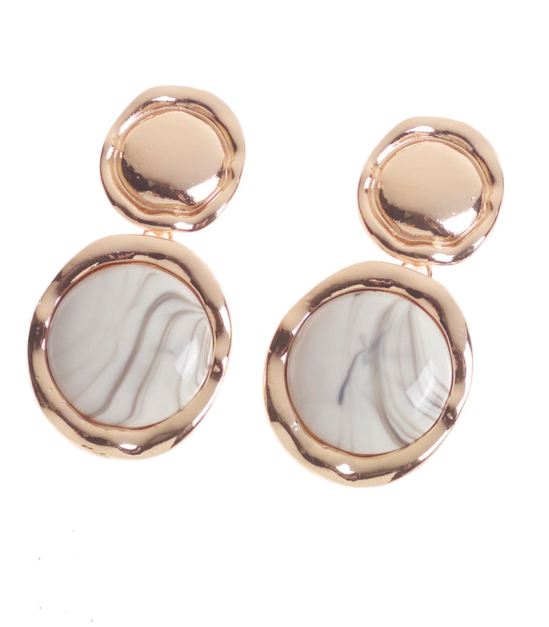Gold Marble Pendant Statement Earring