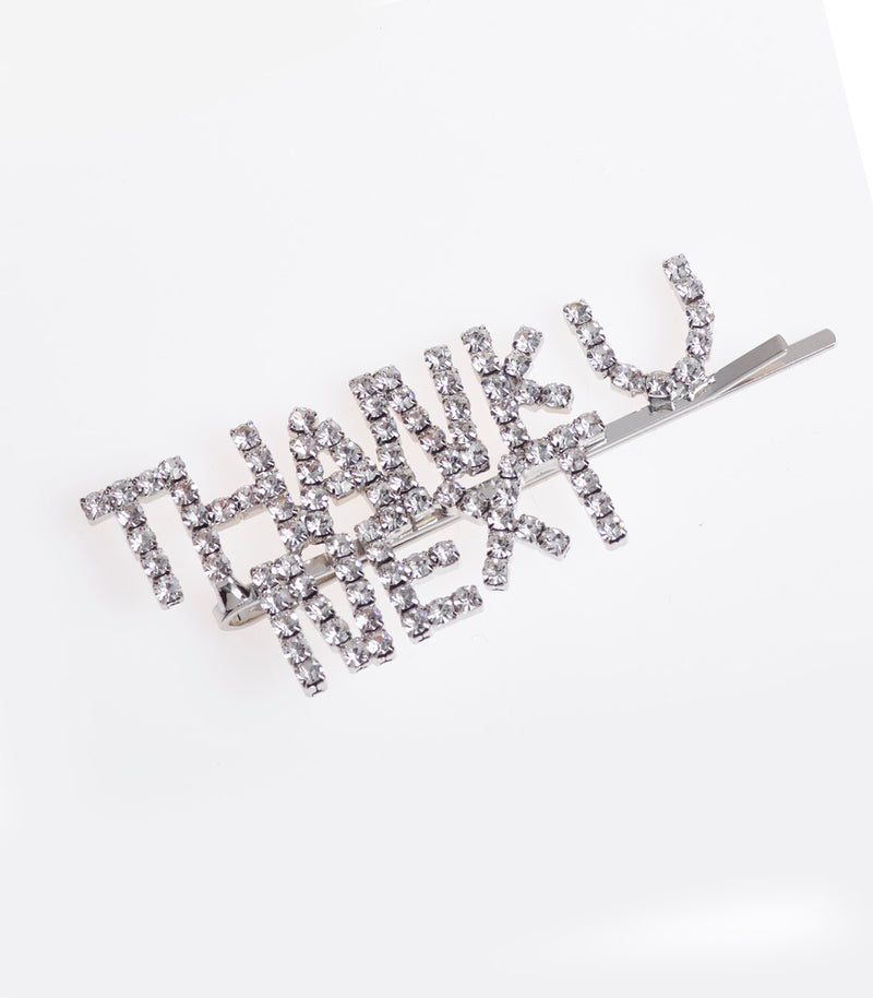 Thank U Next  Slogan Diamante Embellished Hair Slides