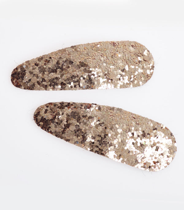 Gold Glitter Sequin Hair Slides In a 2 Pack.
