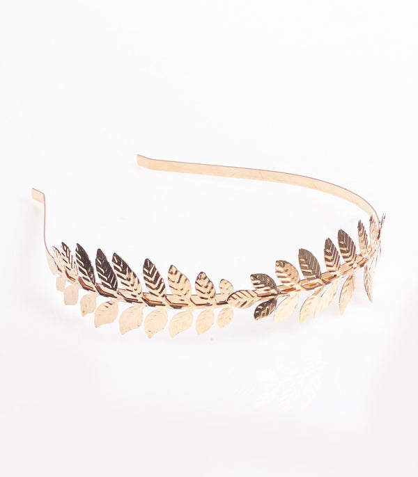 Metal Headband With Roma Style Leafs