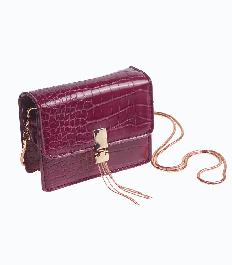 Purple Faux Croc Box Bag