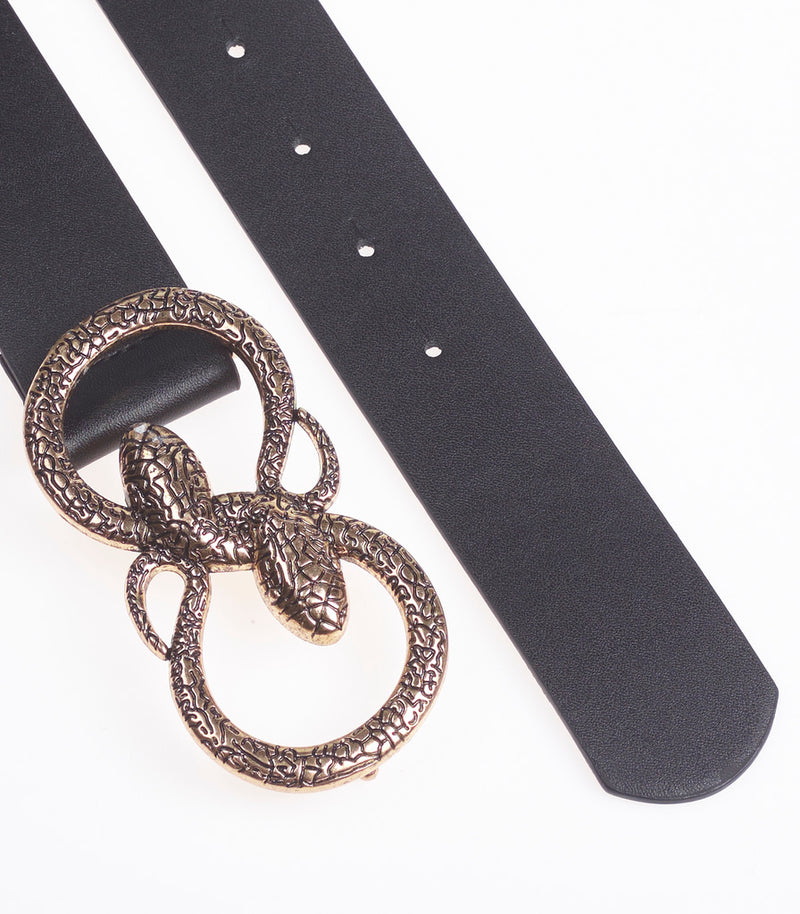 Black Faux Snake Buckle Belt