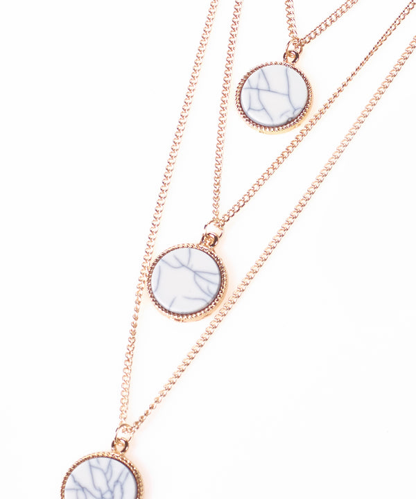 Gold Triple Layer White Stone Necklace