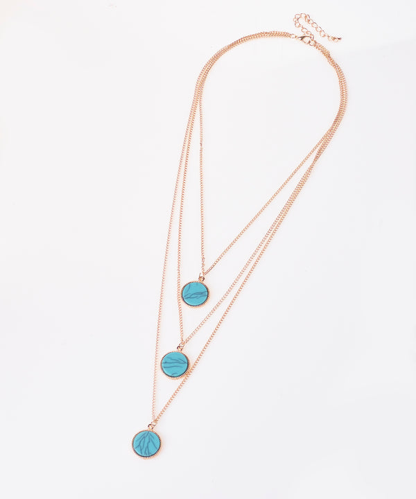 Gold Triple Layer Stone Necklace
