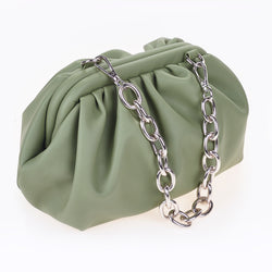 Green Ruched Side Bag With Chunky Chain Detail.