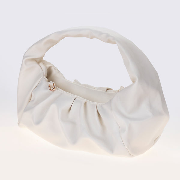 White Ruched Handbag