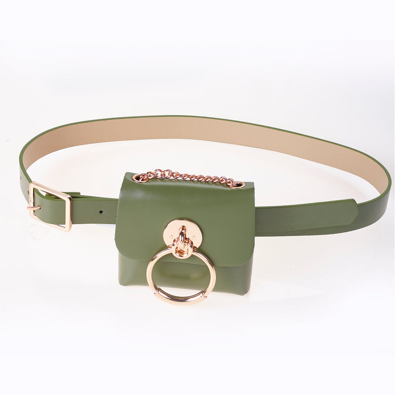 Pu belt bag in Green with Gold Detail.