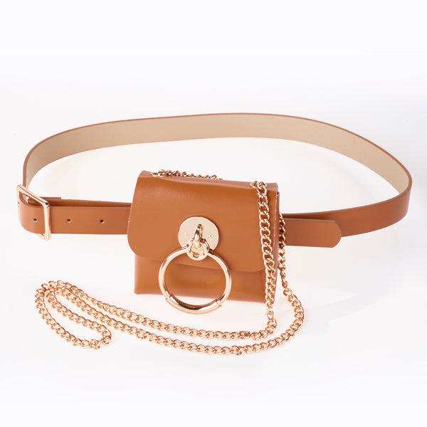 Pu belt bag in Tan with Gold Detail.