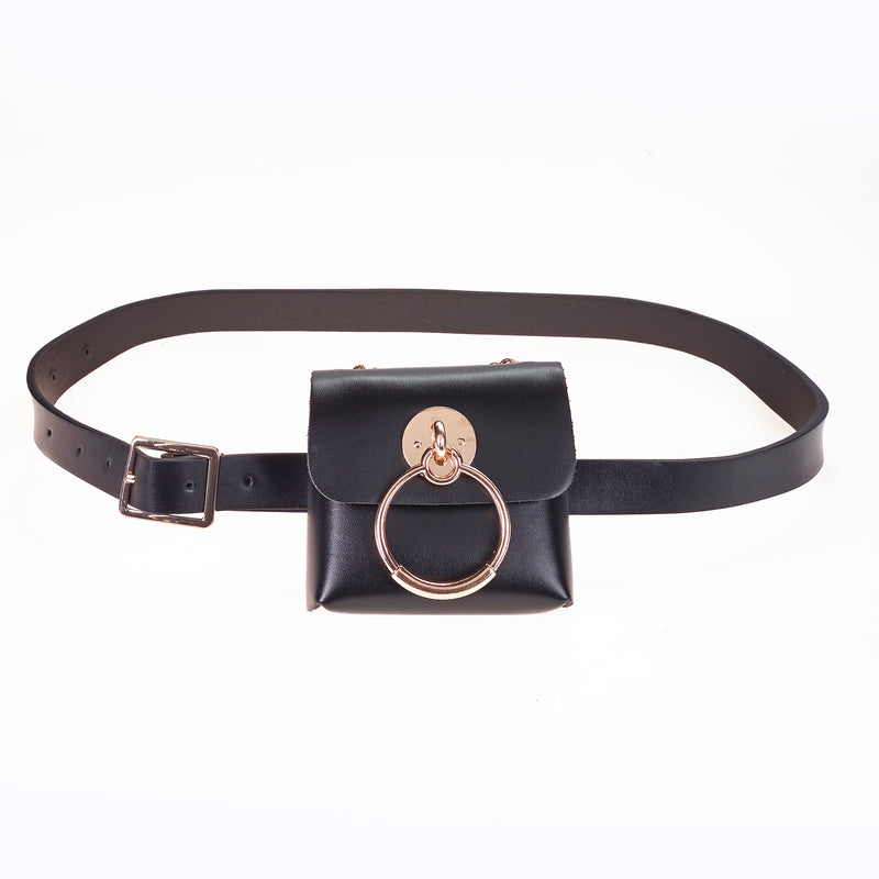 Pu belt bag in Black with Gold Detail.