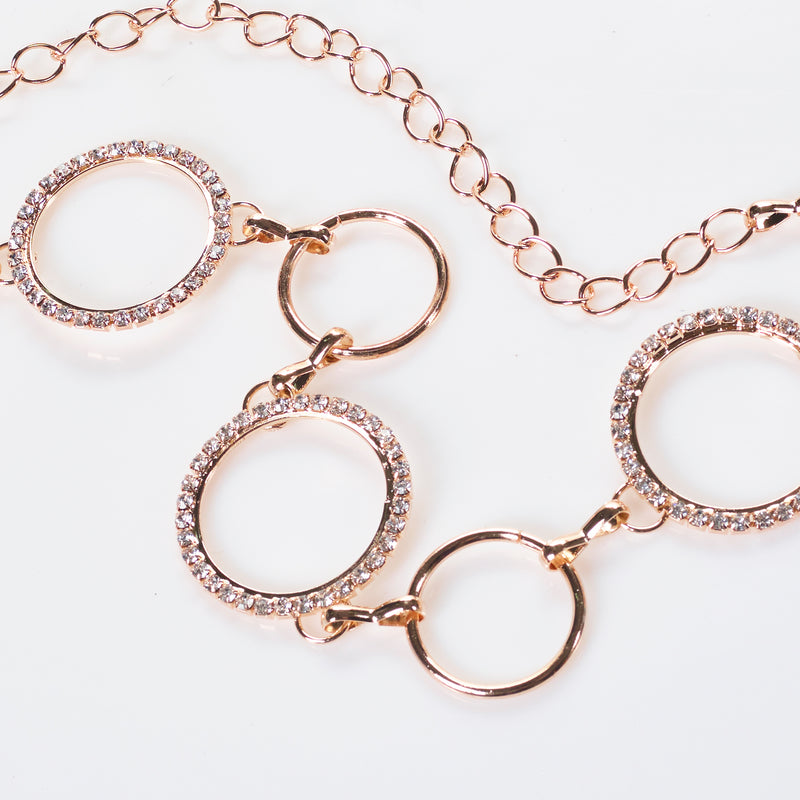 Circle in Diamante Chain Belt In Gold